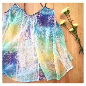 Free People | Sequin Straps W/ Lace Design Tie-Dye
